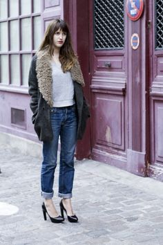 Simple with a bit of detail: Denim and shearling coat