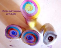 Jelly roll cane with translucent clay, powder, paint and foil...