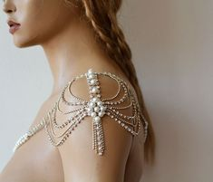 Items similar to Shoulder Necklace For Wedding Dress, Pearl Shoulder Jewelry For Bride, Rhinestone And Body Accessory For Wedding, Crystal Bridal Jewelry on Etsy Shoulder Jewelry, Shoulder Necklace, Body Chains, Wedding Belts, Wedding Dresses, Lace Wedding, Sparkle Wedding, Modest Wedding, Gown Wedding