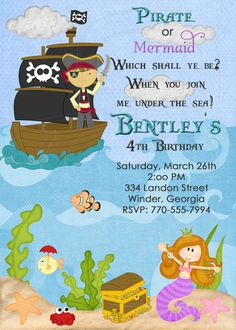 Pirate and Mermaid Birthday Party Invitation-Digital File. $12.00, via Etsy.