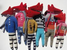 recycled wool foxes  mary stanley