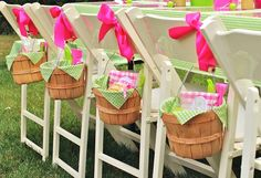 birthday at farm decor. Love the baskets and the gingham.