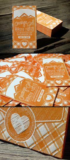 Currently browsing Orange Girl Letterpress Business Cards for your design inspiration Design Typo, Web Design, Typography Design, Branding Design, Print Design, Creative Design, Packaging Design, Name Card Design, Letterpress Business Cards