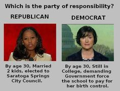 College, Memes, and Party: Which is the party of responsibility? REPUBLICAN DEMOCRAT By age Married By age Still in College, demanding 2 kids, elected to Saratoga Springs Government force City Council. the school to pay for her birth control. College Memes, Raised Right, Liberal Logic, Stupid Liberals, Age 30, Conservative Politics, City Council, It Goes On, Right Wing