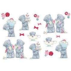 8 Tatty Teddy 'Tea Party' Wall Stickers 'Tea Party' collection includes lots of Tatty Teddy wall stickers in different poses, plus bows and gorgeous button details, in raspberry red, soft pink and sub