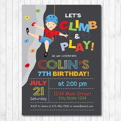 Rock Climbing Invitation Climbing Invite Rock by funkymushrooms