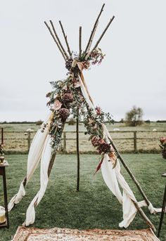 Naked Tipi Wedding Altar - Naked Tipi Wedding Inspiration At Godwick Barn With Styling by The Little Lending Co and Images by Darina Stoda Photography Outdoor Wedding Ceremony Ideas for Your Wedding at The Orchard at Chesfield Wedding Themes, Wedding Tips, Dream Wedding, Wedding Planning, Hippie Wedding Decorations, Wedding Images, Wedding Pictures, Bohemian Wedding Invitations, Gypsy Wedding