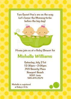 Twins Baby Shower Invitation Two Peas in a Pod by eventfulcards