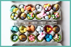 DIY Egg Carton Easter Basket Alternative - Close it up and wrap it in pretty fabric tied off with ribbon.  Put candy, jewelry, little toys, money etc in each little compartment