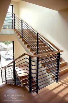 Stairway Railing Ideas, Staircase Railing Design, Interior Stair Railing, Modern Stair Railing, Staircase Handrail, House Staircase, Home Stairs Design, Modern Stairs, Home Window Grill Design