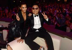 Kim Kardashian and Psy pose in the VIP Glamour area at the MTV EMA's 2012 at Festhalle Frankfurt on November 11, 2012 in Frankfurt am Main, Germany.