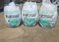 Bridesmaid Wine Glasses, Asking Bridesmaid, Bridesmaid Proposal, Bridesmaid Wine Glass, Wedding, Gift, Bride