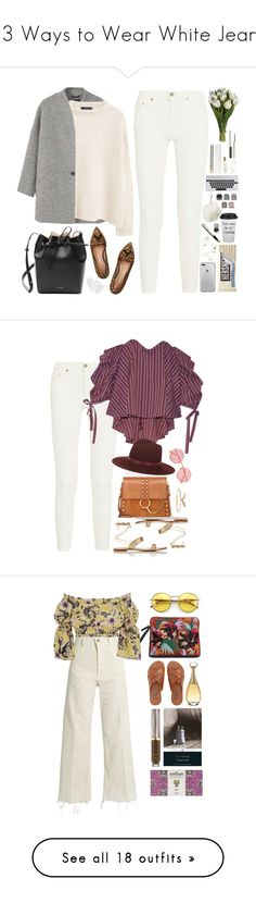 """""""13 Ways to Wear White Jeans"""" by polyvore-editorial ❤ liked on Polyvore featuring whitejeans, waystowear, MANGO, Acne Studios, Gianvito Rossi, Mansur Gavriel, Kate Spade, Charlotte Russe, Forever 21 and Caroline Constas"""
