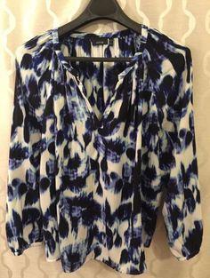 Apt 9 Womens Plus Size 2X Flowy Blue White Print Pattern Top Blouse Comfy #Apt9 #Shirt