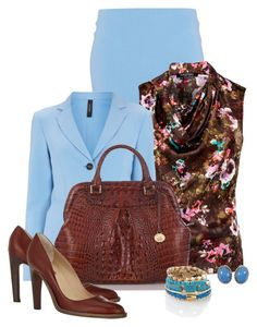 Office outfit: Light Blue - Brown - Floral by downtownblues