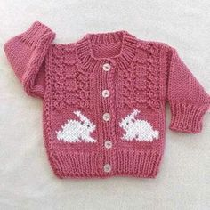 Baby girl knit cardigan, Baby cardigan with bunnies, Toddler bunny sweater, Baby shower gift Baby Knitting Patterns, Baby Girl Patterns, Knitting For Kids, Knitting Stitches, Baby Girl Sweaters, Knitted Baby Clothes, Crochet Baby, Knit Crochet, Baby Cardigan