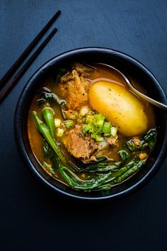 GAMJATANG ~~~ gamjatang is a spicy soup made with pork spine or ribs, vegetables, hot peppers and ground wild sesame seeds. [Thailand] [sbs]