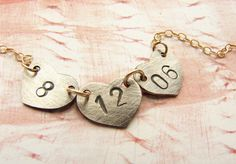 Valentine Personalized date necklace wedding date by soradesigns, $33.87