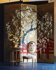 Vintage chinoiserie folding screen from Todd Alexander Romano.