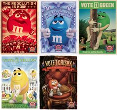 M&Ms Election Posters - Typography, campaign, Illustration, constructivist, etching, watercolour, oil painting, portraits, graphic design, advertising, organic paper texture.