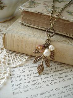 WOODLAND WALK - Nature Necklace. Antiqued Brass Leaves, Flower & Vintage Bohemian Glass Champagne Pearls. Sweet and Shabby Cluster Necklace....