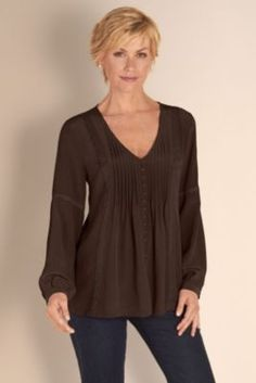 Silk Eloise Shirt - Ladies V Neckline Shirt, Embellished Top, Shirts | Soft Surroundings