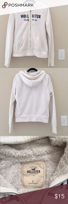 Hollister, Co. Zip-Up Hoodie Keep warm this winter with this Large white- colored Hollister Zip-Up! In great condition, no flaws, zipper works perfectly. Material: 60% cotton, 40% polyester Hollister Tops Sweatshirts & Hoodies
