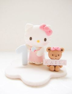 Customized Handmade Hello Kitty Birthday Cake by claydoughandme, $106.90