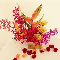 Tropical floral display for our Maui destination wedding - Bliss Flower Design