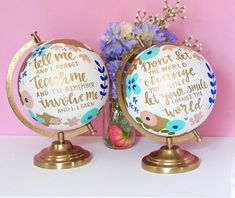 Globe Crafts, Map Crafts, Cute Crafts, Painted Globe, Hand Painted, Going Away Parties, Globe Art, World Globes, Teacher Gifts