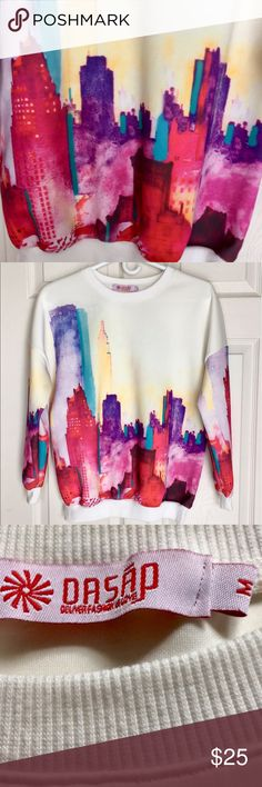 OASAP NEW YORK CITY SKYLINE WATERCOLOR SWEATSHIRT 🌺...... OASAP Tops Sweatshirts & Hoodies
