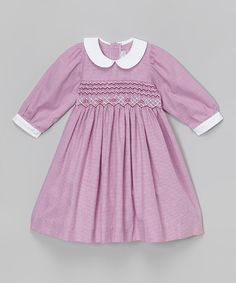 Love this Purple Gingham Smocked Collar Dress - Infant, Toddler & Girls by Fantaisie Kids on #zulily! #zulilyfinds