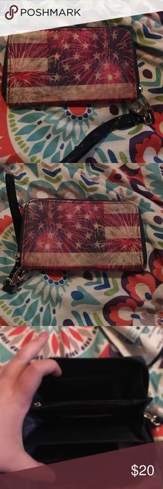 USA Fireworks Fourth of July themed Wallet. Brand new wallet. Has plenty room for cash and cards and ID. It is USA themed with fireworks exploding on the wallet. Super cute! Bags Wallets