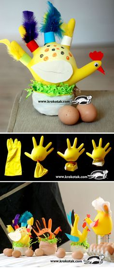 Kids Craft : Chicken from kitchen gloves Farm Crafts, Easter Crafts For Kids, Crafts To Do, Preschool Crafts, Diy For Kids, Easter Art, Easter Activities, Activities For Kids, Projects For Kids