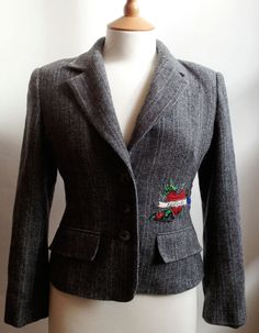 Unique Upcycled Customised Grey Tweed Jacket by our friends Queenie and Ted