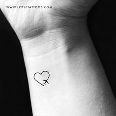 Traveller Heart Temporary Tattoo - Set of 3 Hand Tattoos For Guys, Small Tattoos, Tattoos For Women, Aloha Tattoo, Coordinates Tattoo, Compass Rose Tattoo, Airplane Tattoos, Balloon Tattoo, Cute Little Tattoos