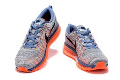 huge selection of 22e19 ee2ec Nike Air Max Flyknit Blue Grey Orange Casual Sneakers, Sneakers Fashion,  Shoes Sneakers,