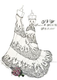 9x12 Custom Wedding Dress Sketch