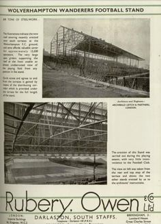 Original South Bank being built Wolverhampton Wanderers Fc, Image Foot, Football Stadiums, School Football, Historical Images, Wolves, Palace, Nostalgia, Wolf