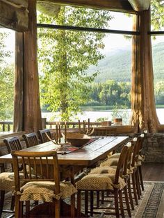 Montana lodge dining room with breathtaking view.