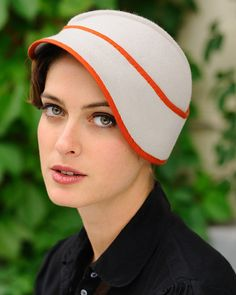Clementine- light gray cloche with orange trim