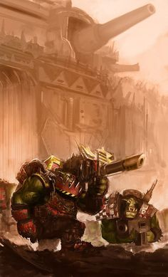 I saw this picture and immediately though 'ork in a tank style suit of mega-armour' Warhammer 40k Rpg, Orks 40k, Warhammer Fantasy, Warhammer Models, Gundam Wallpapers, Space Wolves, 3d Prints, Starcraft, Geek Art