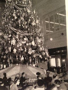 Photograph of the Great Tree in the  Walnut room  Restaurant. Marshall Fields Christmas 1951 You can see uncle mistletoe at the base of the tree