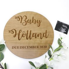 Large Personalised Cherry Timber Pregnancy Announcement Sign - Laser Engraved Cherry Timber Pregnancy Announcement Photos, Baby Due, Rough Day, Easy Day, Secret Santa Gifts, Peace Of Mind, Laser Engraving, Cherry, Baby Shower