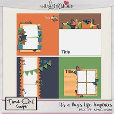 It's a Bug's Life - digital scrapbooking layout templates from Time Out Scraps. Get inspired with this 4 multi photo layout templates perfect for documenting all the fun moments of the summer. This Template Pack includes 4 12x12 digital scrapbooking page templates in .psd and .tiff formats, .page and as .png files. These templates are CT friendly and can be used to create quick pages.