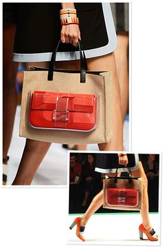 Fendi daytime tote with a clear pocket for an evening clutch