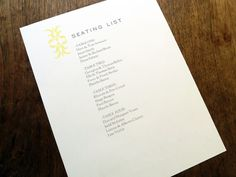 A printable seating list with a simple ornament and understated typography.