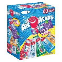 There are 60 Airheads bars in every box. These aren't your parent& Airheads! We've worked REALLY hard to make our bars softer and the flavors more intense. We know you'll fall in love with them all over again. All items are Peanut-free and inc Chewy Fruit Candy, Best Halloween Candy, Airheads Candy, Taffy Candy, Laffy Taffy, Candy Brands, Zucchini Cake, Favorite Candy, Patch Kids