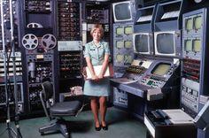 """A female U.S. Army audiovisual technician stands beside a videotape editing console"", 05/01/1973 Video Walls http://www.videowallreview.com/"