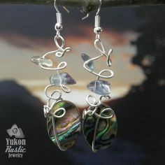 Abalone Shell Earrings with Fluorite Chips (gold wire) - Yukon ...